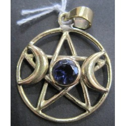 Pendant Bronze Triple Moon With Amethyst