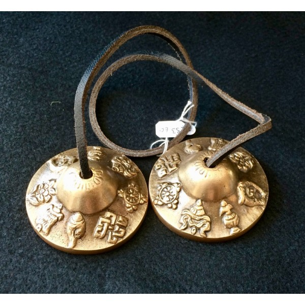 Brass Tingsha Bells Lucky Signs 5.9cm