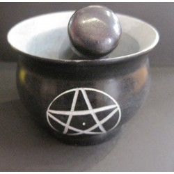 Mortar And Pestle Soapstone With Pentagram Design small